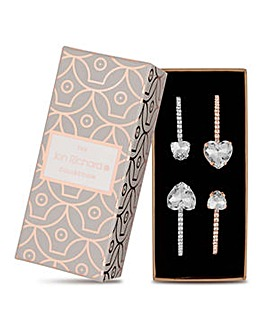 Jon Richard diamante heart bracelet set