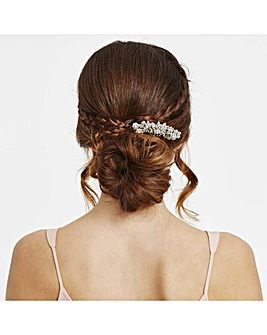 Mood silver pearl floral hair comb