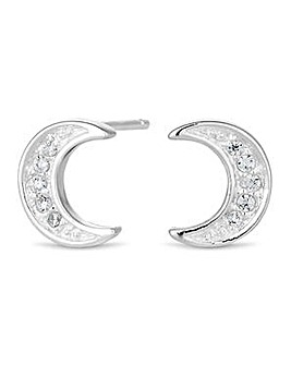 Simply Silver moon stud earring