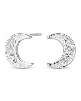 Simply Silver moon stud earring