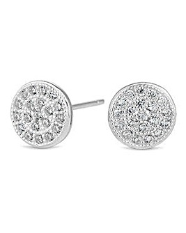 Simply Silver pave stud earring