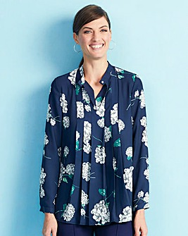 Navy Floral Stand Collar Pleat Blouse