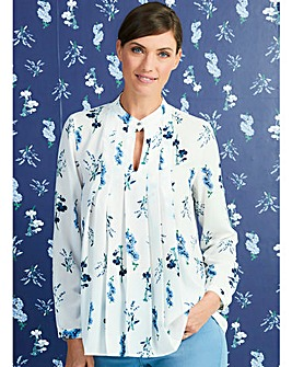 Ivory Floral Stand Collar Pleat Blouse