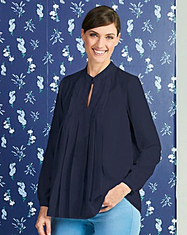 Indigo Stand Collar Pleat Front Blouse