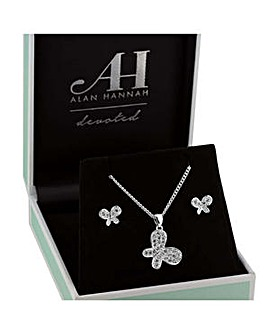 Alan Hannah pave butterfly jewellery set