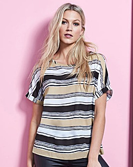 Stone Stripe Drop Sleeve Shell Top