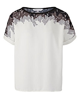 Ivory Print Drop Sleeve Shell Top