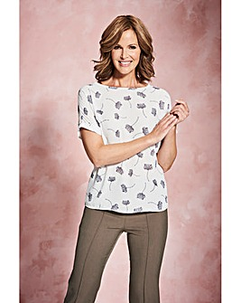 Ivory Floral Drop Sleeve Shell Top