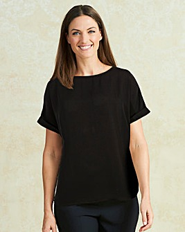 Black Drop Sleeve Shell Top