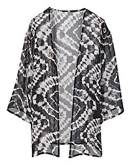 Grey Print Boxy Kimono