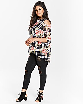 Black Multi Cold Shoulder Tunic