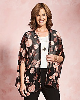 Black Floral Printed Ladder Trim Kaftan