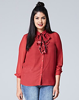 Henna Pleat Front Frill Blouse