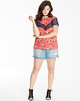 Multi Print Cape Lace Top