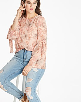 Blush Floral Tie Sleeve Blouse