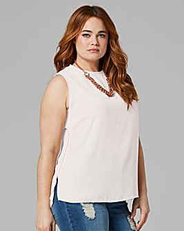 Ivory Zip Side Vest Top