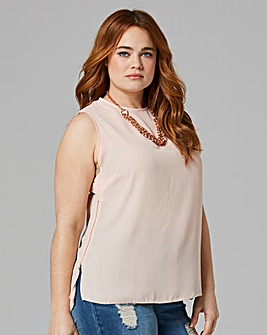 Soft Peach Zip Side Vest Top