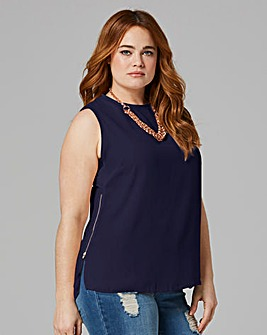 Indigo Zip Side Vest Top