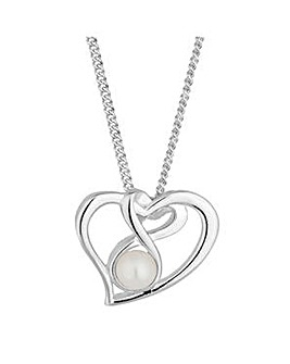 Simply Silver open heart pearl necklace
