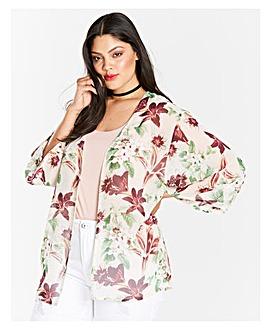 Blush Floral Boxy Kimono