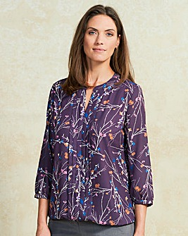 Mulberry Print Pleat Detail Blouse