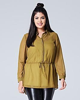 Deep Khaki Longline Shirt