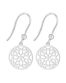 Simply Silver cut out disc drop earring