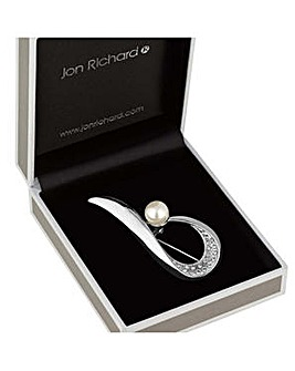 Jon Richard crystal pearl loop brooch