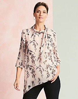 Pink Print Boat Neck Tie Blouse