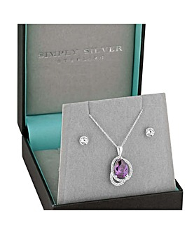Simply Silver Peardrop jewellery Set