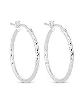 Simply Silver diamond cut hoop earring