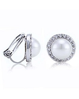 Jon Richard pave pearl clip on earring