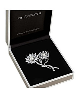 Jon Richard flower crystal brooch