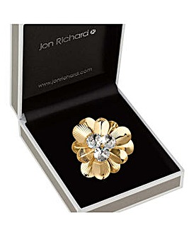 Jon Richard crystal flower brooch