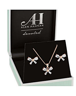Alan Hannah rose gold bow jewellery set