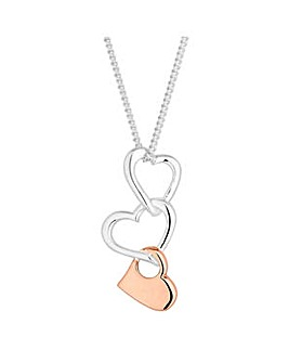 Simply Silver linked heart necklace