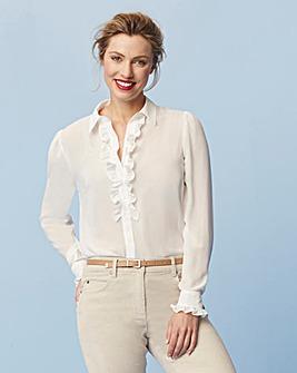 Warm Ivory Ruffle Front Shirt
