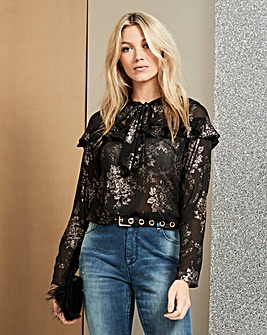 Black With Foil Print Frill Yoke Blouse