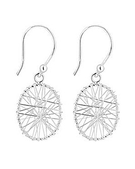 Simply Silver wire wrap oval earring