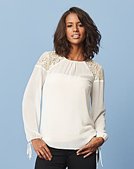 White/Gold Lace Shoulder Blouse
