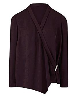 Wrap Front Drape Blouse