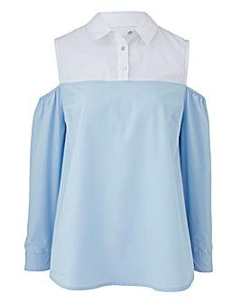 Blue/White Slip Shoulder Layered Shirt