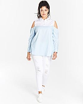 Blue/White Slip Shoulder Layered Shirt