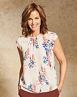 Ivory Multi Gathered Front Shell Top