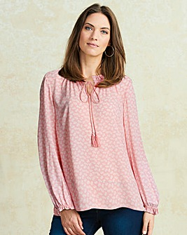 Pink Print Ruffle Neck Tie Blouse