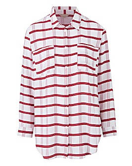 Berry Check 3/4 Sleeve Oversized Shirt