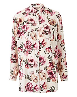 Rose Print 3/4 Sleeve Oversized Shirt