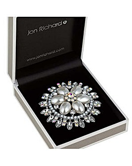 Jon Richard crystal and pearl brooch