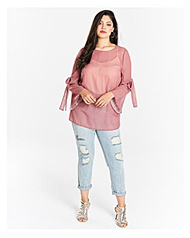 Cherry Tie Sleeve Blouse