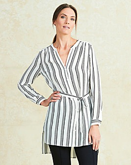 Black/White Stripe Belted Tunic